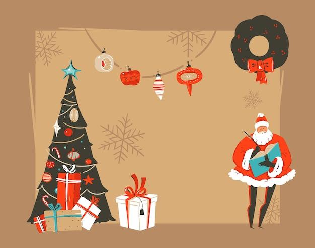 Ręcznie Rysowane Ilustracje Vintage Kreskówka Streszczenie Wesołych świąt I Szczęśliwego Nowego Roku Premium Wektorów