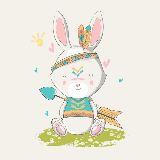 Ręcznie Rysowane Ilustracji Boho Cute Baby Bunny Z Piór. Premium Wektorów