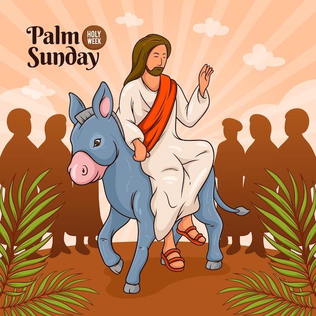 Ręcznie Rysowane Ilustracji Niedziela Palmowa Premium Wektorów
