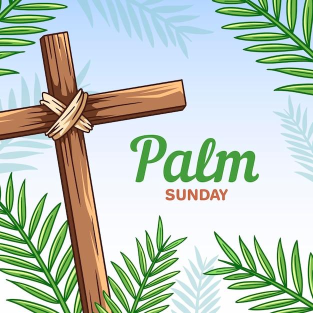 Ręcznie Rysowane Ilustracji Niedziela Palmowa Darmowych Wektorów