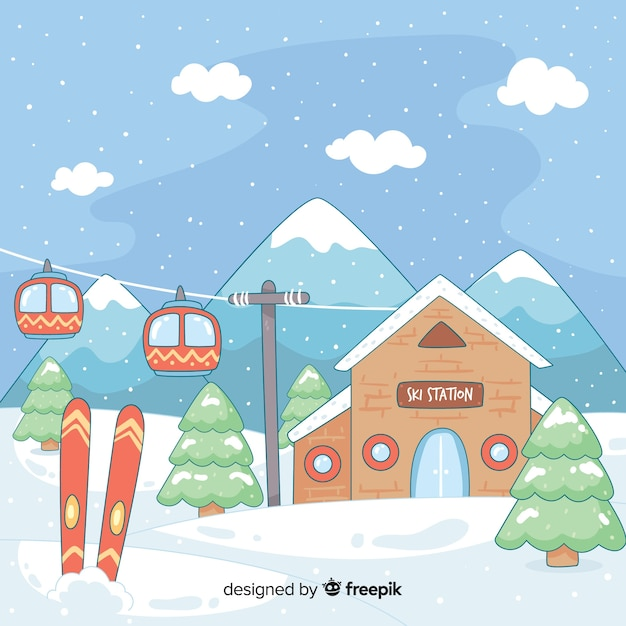 Ręcznie rysowane ilustracji stacji narciarskich Darmowych Wektorów