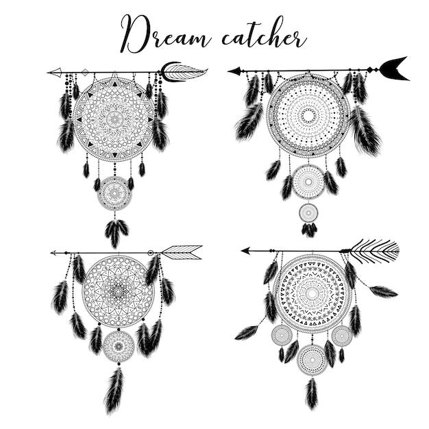 Ręcznie Rysowane Indyjski łapacz Snów Z Piórami. Ilustracja. Etniczny Design, Boho Chic, Plemienny Symbol. Premium Wektorów