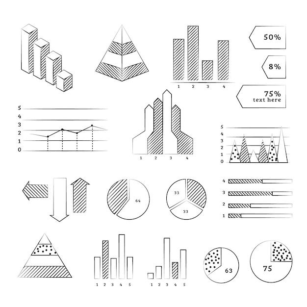 Ręcznie rysowane infografikę element kolekcji Darmowych Wektorów
