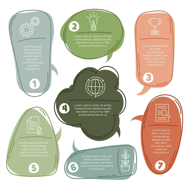Ręcznie Rysowane Infografiki Dymki Darmowych Wektorów