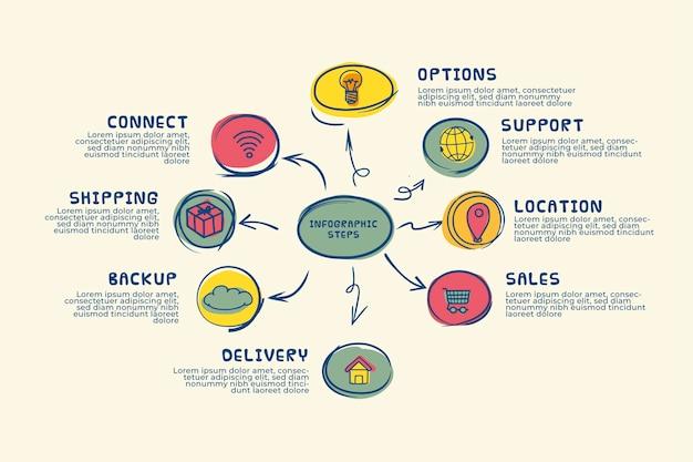 Ręcznie Rysowane Infographic Kroki Premium Wektorów