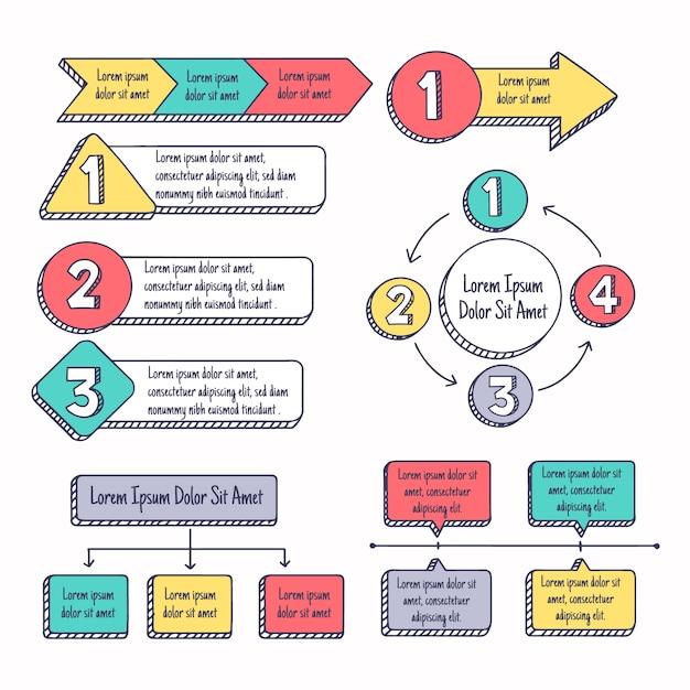 Ręcznie rysowane infographic zestaw elementów Darmowych Wektorów