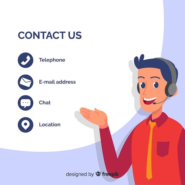 Ręcznie Rysowane Informacje Kontaktowe Szablon Tło Premium Wektorów
