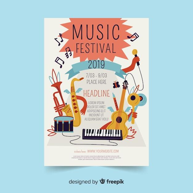 Ręcznie rysowane instrumenty festiwal muzyczny plakat Darmowych Wektorów