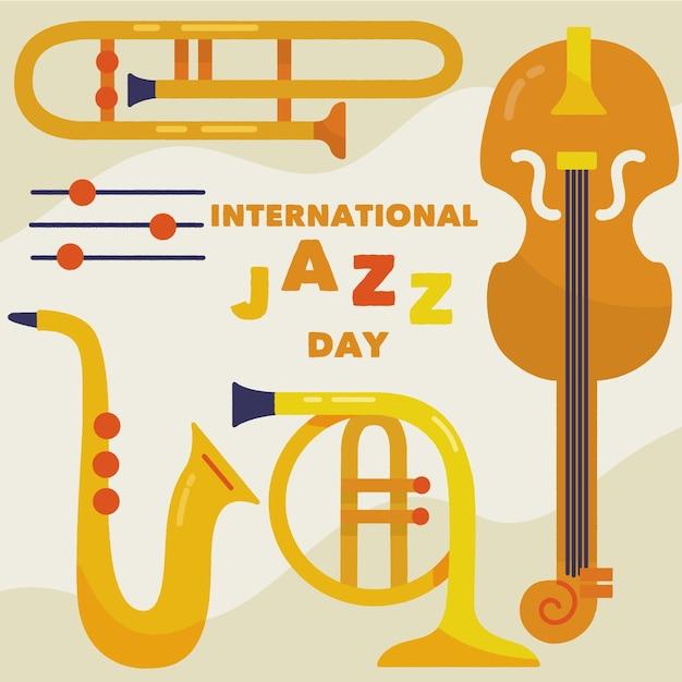 Ręcznie Rysowane Instrumenty Międzynarodowego Dnia Jazzu Ilustracja Darmowych Wektorów