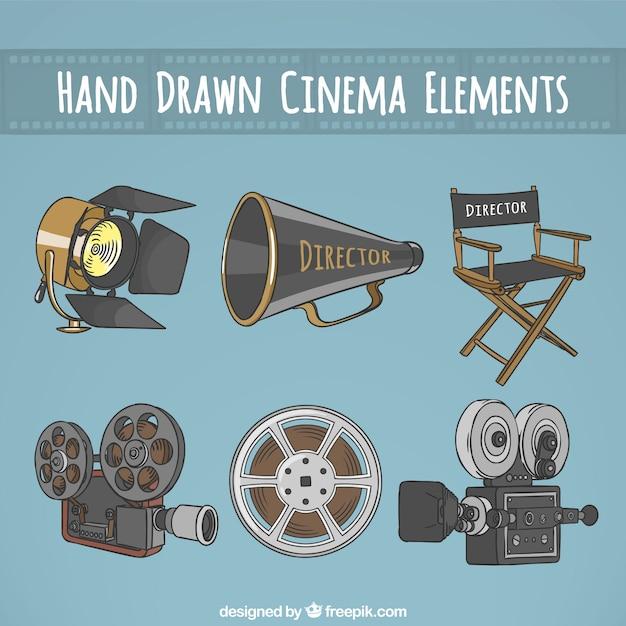 Ręcznie rysowane istotne elementy dla reżysera kinowego Premium Wektorów