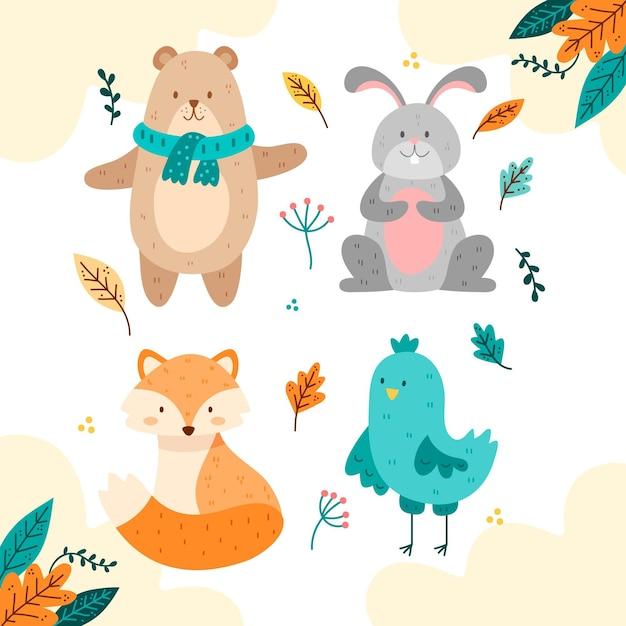 Ręcznie Rysowane Jesień Fost Kolekcja Zwierząt Darmowych Wektorów
