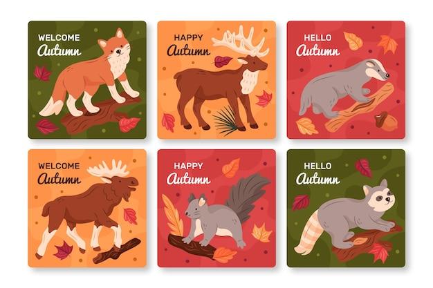Ręcznie Rysowane Jesień Kolekcja Kart Darmowych Wektorów