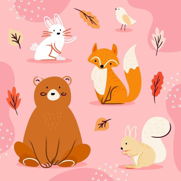 Ręcznie Rysowane Jesień Kolekcja Zwierząt Darmowych Wektorów