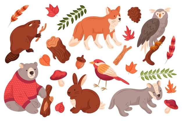 Ręcznie Rysowane Jesień Zestaw Zwierząt Leśnych Darmowych Wektorów