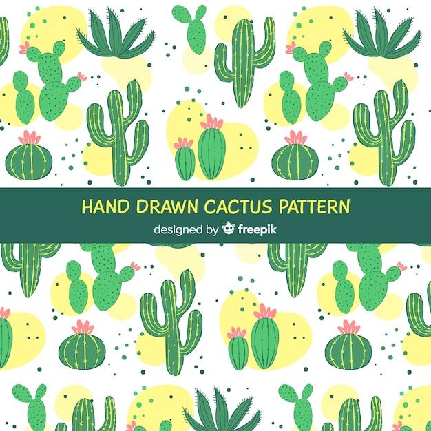 Ręcznie rysowane kaktus tło Darmowych Wektorów