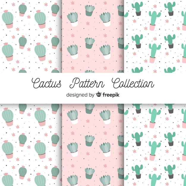 Ręcznie rysowane kaktus wzór zestaw Darmowych Wektorów