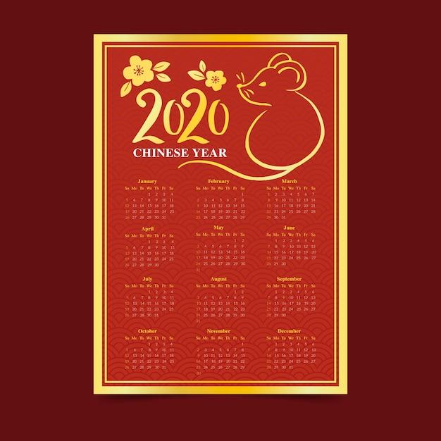 Ręcznie rysowane kalendarz chiński nowy rok Darmowych Wektorów
