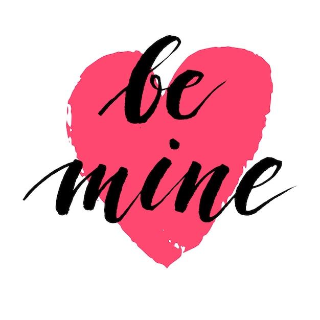Ręcznie Rysowane Kaligrafia Napis O Miłości Z Czerwonym Sercem. Ilustracja Walentynki. Premium Wektorów