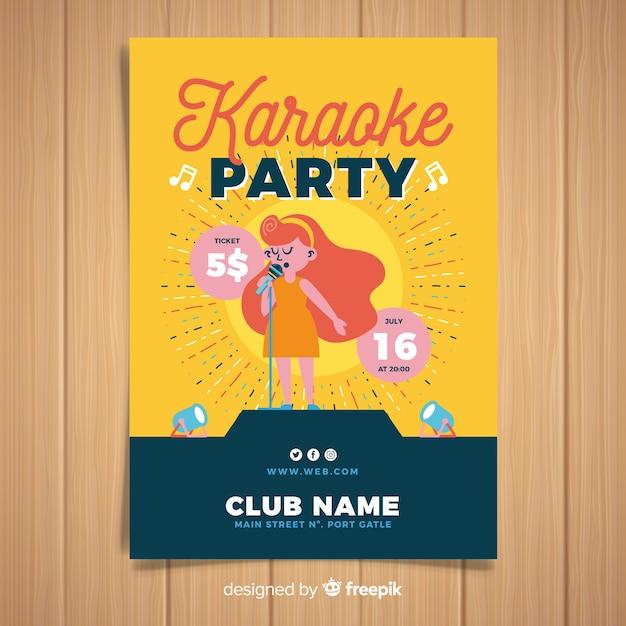 Ręcznie rysowane karaoke plakat szablon Darmowych Wektorów