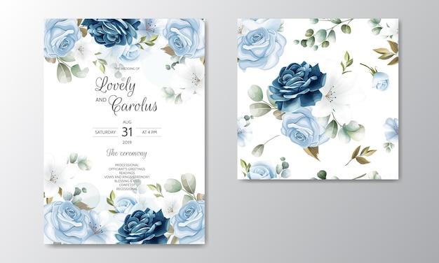 Ręcznie Rysowane Karta Zaproszenie Na ślub Kwiatowy Premium Wektorów
