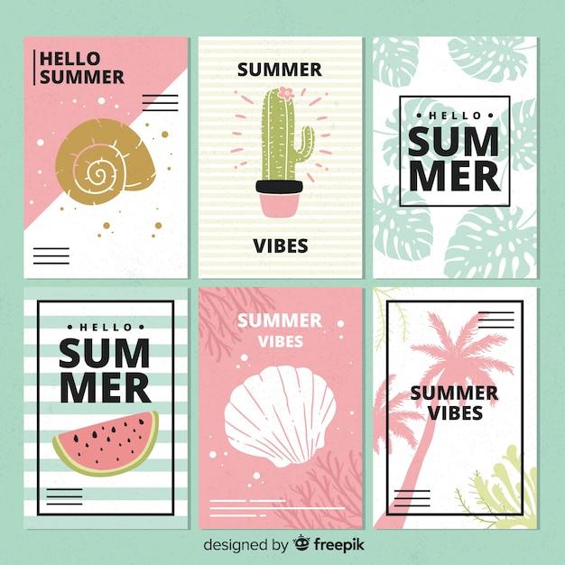 Ręcznie rysowane karty letnie Darmowych Wektorów