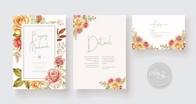 Ręcznie Rysowane Karty ślubne Darmowych Wektorów