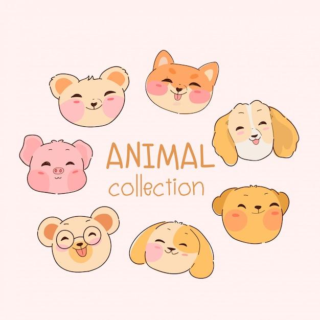 Ręcznie Rysowane Kawaii Kolekcja Zwierząt Premium Wektorów