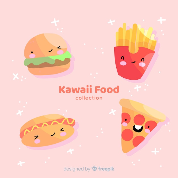 Ręcznie rysowane kawaii kolekcja żywności Darmowych Wektorów