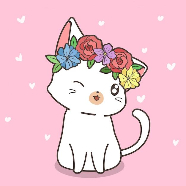 Ręcznie rysowane kawaii kot z koroną kwiatową Premium Wektorów