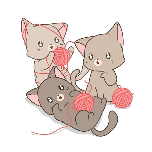 Ręcznie Rysowane Kawaii Koty Bawią Się Różowymi Przędzami I Niciami Premium Wektorów