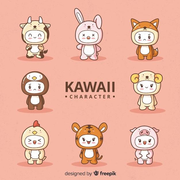 Ręcznie rysowane kawaii przebrany zbiór znaków Darmowych Wektorów