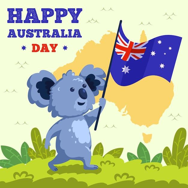 Ręcznie Rysowane Koala Trzymając Flagę Australii Darmowych Wektorów