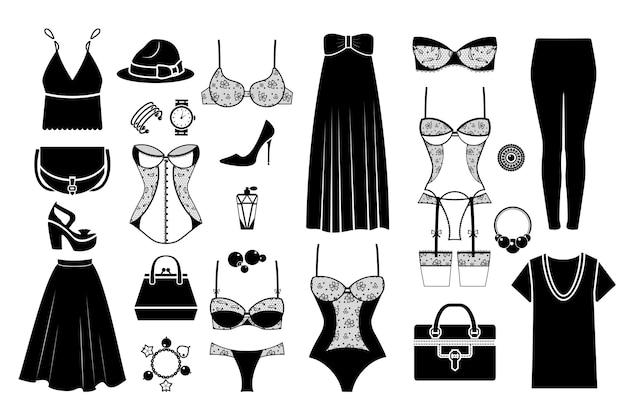 Ręcznie Rysowane Kobiece Modne Ubrania. Kobiece Tkaniny, Modna Torebka, Ręcznie Rysowane Bielizna. Ilustracji Wektorowych Premium Wektorów