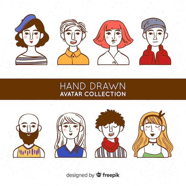 Ręcznie rysowane kolekcja awatarów Darmowych Wektorów