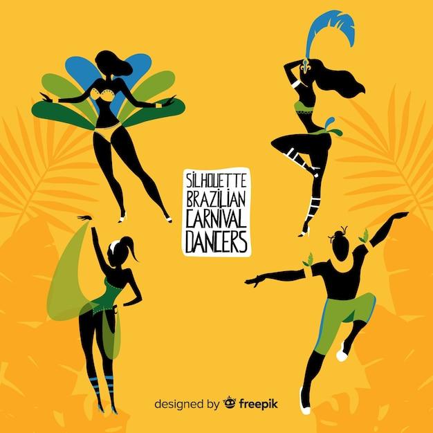 Ręcznie rysowane kolekcja brazylijski karnawał tancerz Darmowych Wektorów