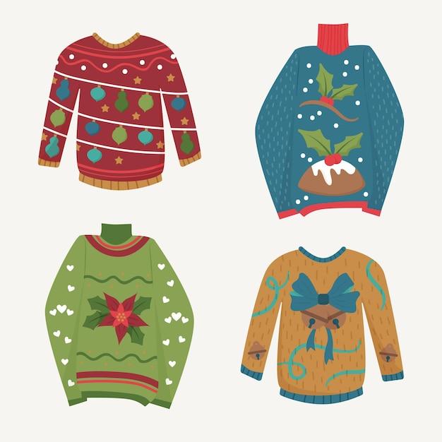 Ręcznie Rysowane Kolekcja Brzydki Sweter Darmowych Wektorów