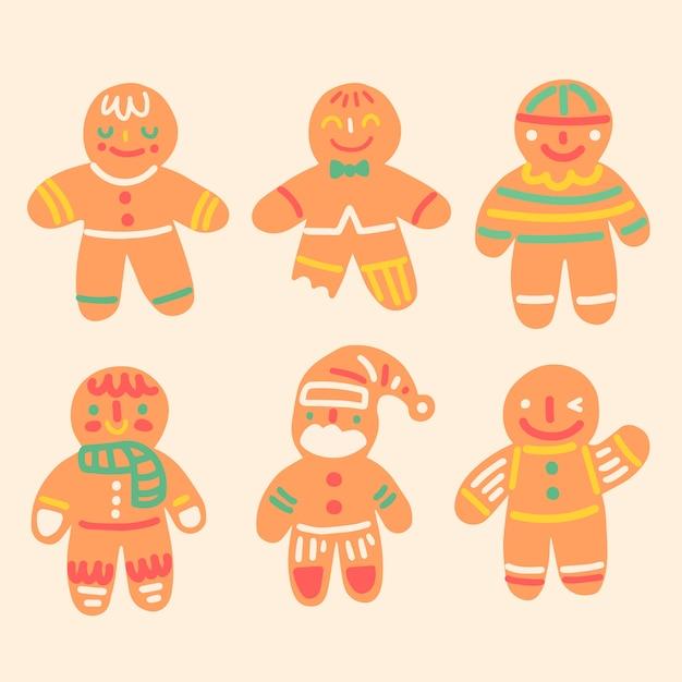 Ręcznie rysowane kolekcja cookie piernika Darmowych Wektorów