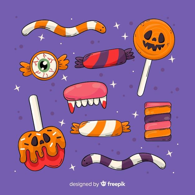 Ręcznie Rysowane Kolekcja Cukierków Halloween Darmowych Wektorów