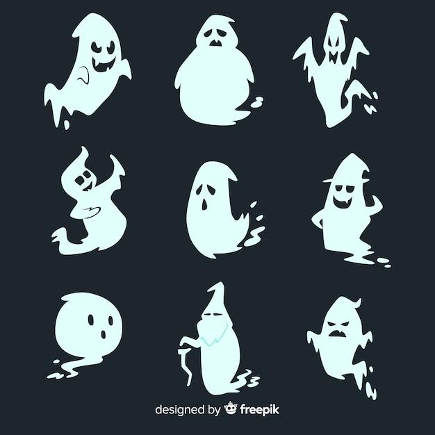 Ręcznie rysowane kolekcja duchów halloween Darmowych Wektorów