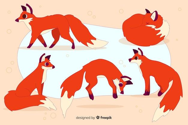 Ręcznie Rysowane Kolekcja Dzikich Lisów Darmowych Wektorów