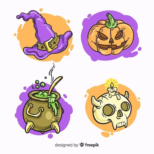 Ręcznie rysowane kolekcja elementów halloween Darmowych Wektorów