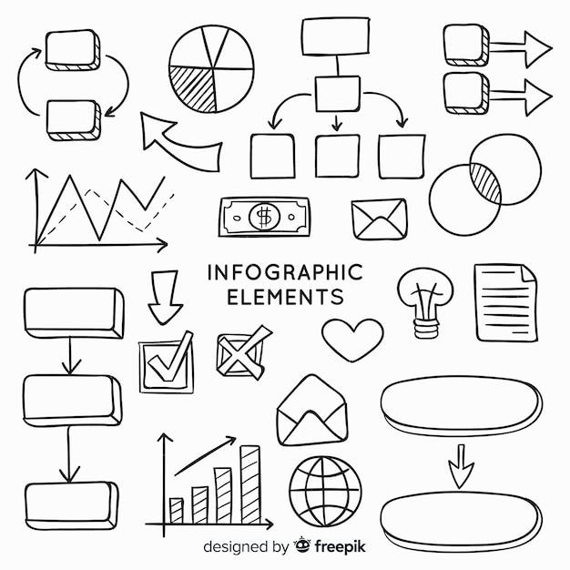 Ręcznie rysowane kolekcja elementów infographic Darmowych Wektorów