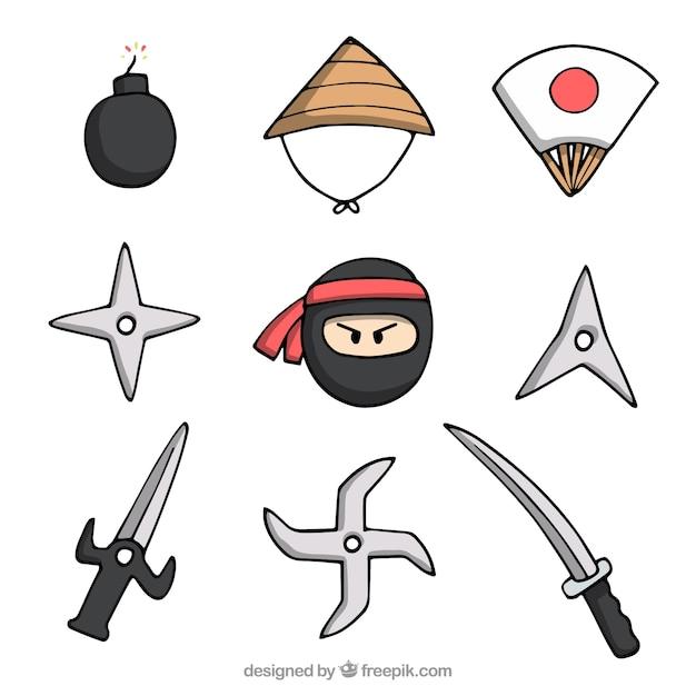 Ręcznie rysowane kolekcja elementów ninja Darmowych Wektorów