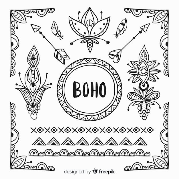 Ręcznie rysowane kolekcja elementów w stylu boho Darmowych Wektorów