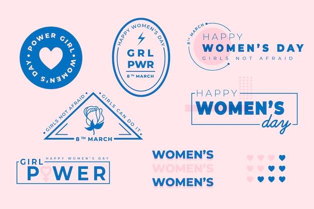 Ręcznie Rysowane Kolekcja Etykiet Dzień Kobiet Darmowych Wektorów