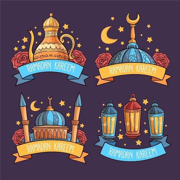 Ręcznie Rysowane Kolekcja Etykiet Ramadan Darmowych Wektorów