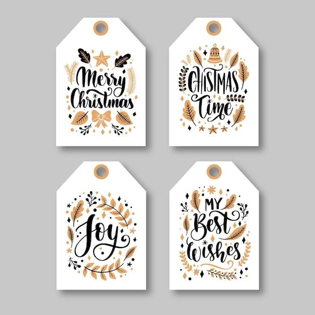 Ręcznie Rysowane Kolekcja Etykiet świątecznych Darmowych Wektorów