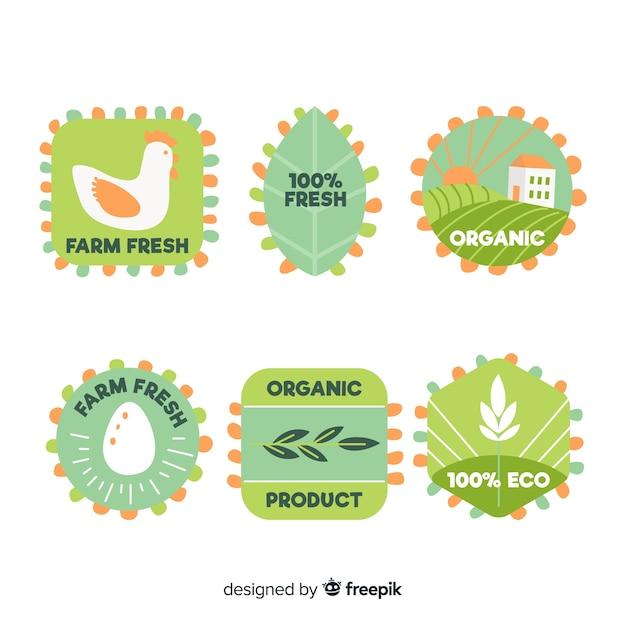 Ręcznie rysowane kolekcja etykiet żywności ekologicznej Darmowych Wektorów