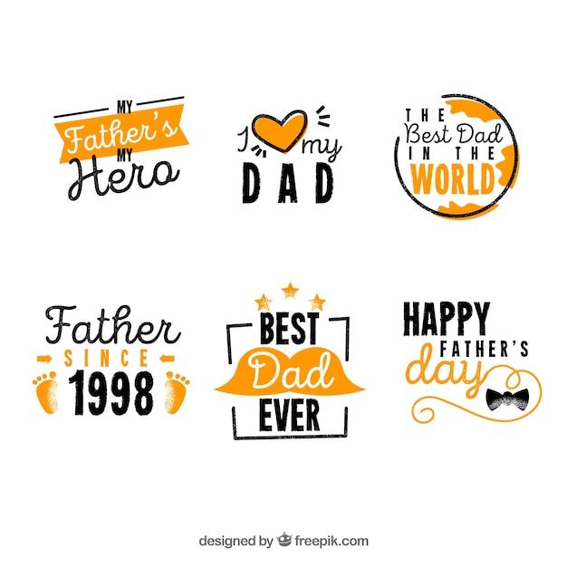 Ręcznie Rysowane Kolekcja Etykieta Dzień Ojców Darmowych Wektorów