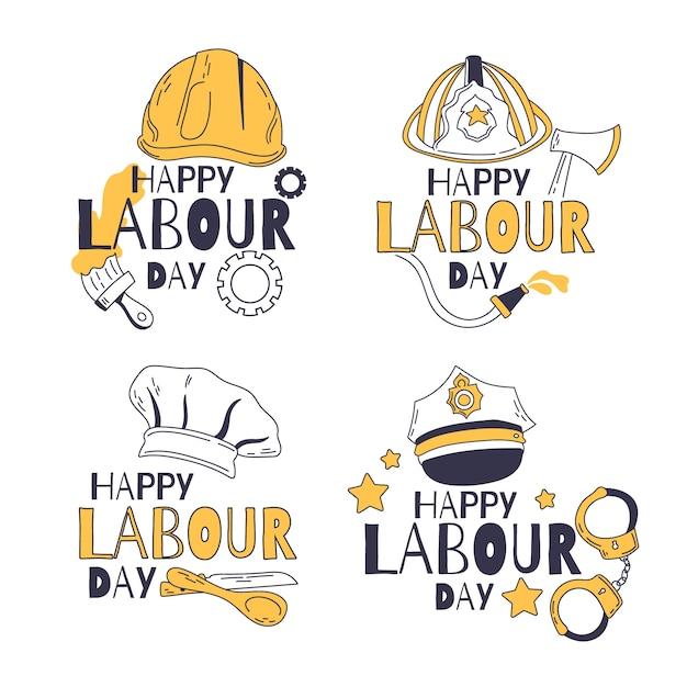 Ręcznie Rysowane Kolekcja Etykieta święto Pracy Darmowych Wektorów